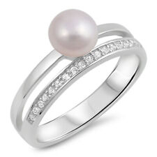 Women 6mm Silver Freshwater Cultured Pearl CZ Ladies Vintage Style Ring Band