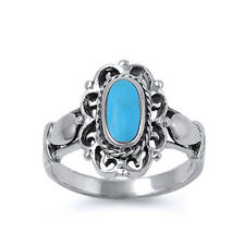 Women 16mm 925 Sterling Silver Simulated Turquoise Vintage Style Ring Band