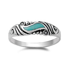 Women 5mm Sterling Silver Simulated Turquoise Wedding Vintage Style Ring Band