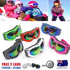 Fashion Kids Child Ski Skiing Goggles GOGGLEs Snowboard Antifog Free - 2 Lens AU
