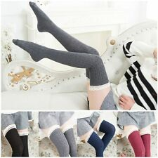 Warm Long Over Knee Tigh High Women Stockings Knit Lace Socks