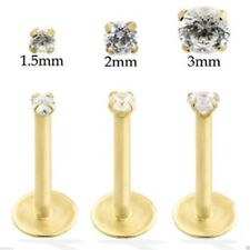 9k Carat Gold Labret Jewelled Lip Earring Monroe Piercing Bar With Gem 16g 8mm