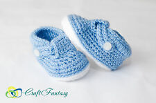 New hand knitted crochet blue baby booties/bootees