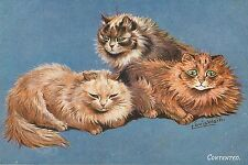 "Louis Wain Cat Drawing Contented Cats Three Cat Decor Print, Cat Art 4x6""-16x24"""