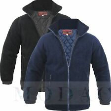 Mens Padded Quilted Jacket Thick Anti Pill Fleece Winter Warm Casual Coat H1