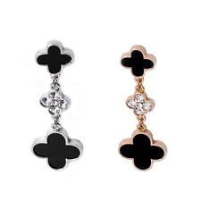 CZ Rhinestone Metal Four Leaf clover Long Crystal drop Dangle earrings earring