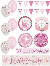 Girl 1st Holy Communion Pink Party Banners Balloons Bunting Napkins Decorations