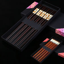 5 Pairs Natural Wood Chopsticks Hand Carved Chinese Chopsticks with Gift Box
