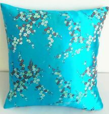 bgt. Turquoise Blossom Chinese Brocade Cushion Cover Made to Order S-L BRCC-403