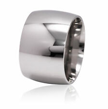 De Lelu Mens Womens 316L Stainless Steel Wide Wedding Ring Band 15MM