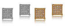 De Lelu Mens Silver or Yellow Gold Plated Square Cubic Zirconia CZ Stud Earrings