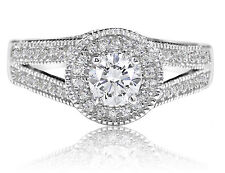De Lelu Sterling Silver Cubic Zirconia Halo Round CZ Split Shank Engagement Ring