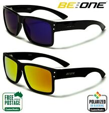 Polarised Flat Top Sunglasses - Mirror Lens - Square Retro Gloss Black Frame