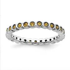 925 Sterling Silver Rhodium-Plated Eternity Citrine Stackable Ring Sz 5 - 10