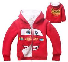 Kids Cars Lightning McQueen Hoodie Boys Girls Zip Thick Warm Winter Coats Jumper