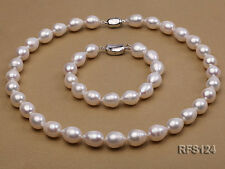 Women Prom Wedding 8-9mm White Rice shape Freshwater Pearl Necklace Bracelet Set