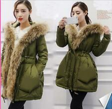 Christmas Women's 100% Real Thick Fur Collar Hoodie Down Jacket Coat Parka