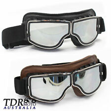 WWII Classic RAF Vintage Pilot Style Motorcycle Café Racer Cruiser Harle Goggles