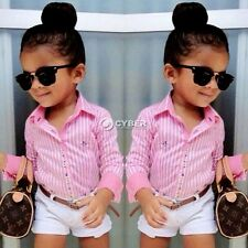 New Baby Kids Girl's Two-piece Cute Stripe Shirt and Solid Shorts DZ8802