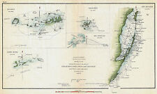 1853 Nautical Chart Coast Survey Map Decor Key Biscayne Bay West Cedar Florida