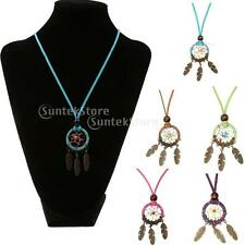 BOHO Retro Dream Catcher Pendant Long Chain Feather Shape Necklace Sweater Decor