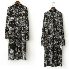 New 2017 Women's Floral Pattern Long Sleeves Just Cavalli Graphic Classic Dress