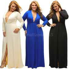 Women Plus Size Long Sleeves Party Evening Dress Solid Deep V Neck Dress Q3W4
