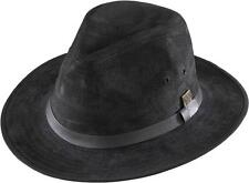 NEW Henschel Hats GENUINE SUEDE LEATHER Lined Safari Fedora Hat Black QUALITY