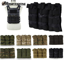 Hunting .223 5.56 Triple MOLLE Rifle Gun Magazine Mag Open Top Holster Pouch