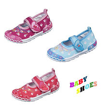 Girls Canvas Shoes / Velcro Trainers / 3 Colours / Size 3.5-7 UK