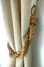 Rustic Manila Rope Curtain Tiebacks - Shabby Chic Vintage Nautical Chunky Thick