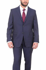 Donald Trump Mens Classic Fit Navy Blue Pinstriped Two Button Wool Suit