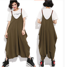 Womens Cotton Overalls Jumpsuits Loose Sleeveless Pants Trousers Harem Maxi Sz