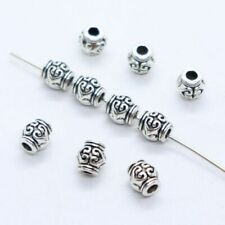 24/72pcs Tibetan Silver Heart Tube Charm Loose Spacer Beads Findings 6x6.5mm