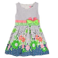 New Sweet Kids Girls Fashion O-Neck Sleeveless Bow Floral Print Vest Dress N98B