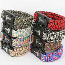 Paracord 550 Survival Bracelet Flint Fire Starter Scraper Striker Whistle Kits