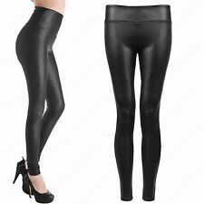 NEW LADIES HIGH WAISTED BLACK PU LEGGINGS LEATHER LOOK STRETCH FIT WOMEN PANTS