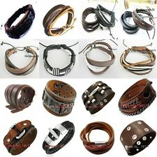 Genuine Leather Wrist Band Necklace Leather Surfer Bracelet Skater Caribbean