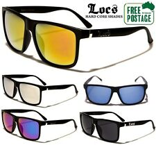 Locs Flat Top Sunglasses - Black Frame / Mirror Lens - Available in 6 Colours