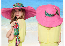Girls Fashion Foldable Brimmed Summer Beach Hat Bohemia Two-sided UV Protection