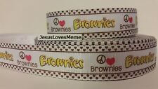 Grosgrain Ribbon, Girl Scouts Brownies Peace Sign Hot Pink Heart Girls Club, 1""