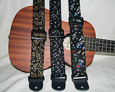 "Ukulele /Mandolin/ Banjolele 1.5""wide Instrument Strap -  Music Notes"