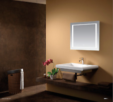 LED ILLUMINATED BATHROOM MIRROR TOUCH SENSOR DEMISTER PAD IP44 & SHAVER &SOCKET
