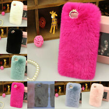 Luxury Soft Fashion Winter Warm Furry Rabbit Fur Case Cover For iPhone