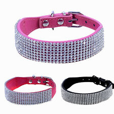 Adjustable Bling Diamand Rhinestone Crystal Pet Dog Cat Collar Buckle PU Leather