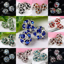 5pc Silvery Rhinestone Crystal Hollow Ball Spacer Charms Loose Bead Findings 8mm