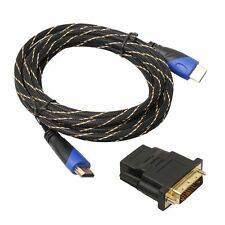 Braided V1.4 HDMI Cable+DVI Adapter HD 3D for PS3 Xbox HDTV Meters 1080P DF LOT