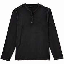 John Varvatos Star USA Men's Long Sleeve Snap Henley Reverse Black $98 msrp NWT