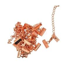 12 Sets Crimp Ends Lobster Clasps Clips with Extender Chain Findings Rose Gold