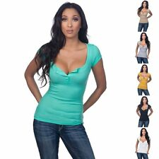 Sexy Summer V-neck Tops Tight Bodycon Solid Women's Short Sleeve Tee T-shirts